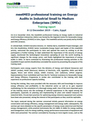 meetMED professional training on Energy Audits in Industrial Small to Medium Enterprises (SMEs) -  Training report