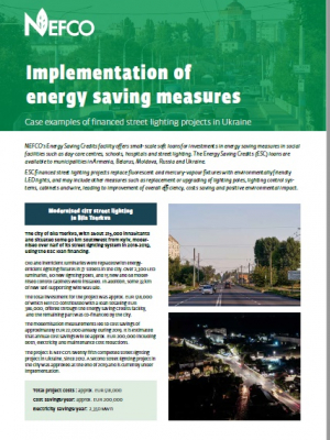 Factsheet: Implementation of energy saving measures in Ukraine