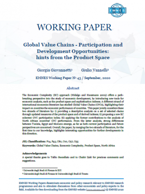 EMNES Working Paper 43 - Global Value Chains - Participation and Development Opportunities: hints from the Product Space