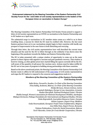 Endorsement statement by the Steering Committee of the Eastern Partnership Civil Society Forum for the 'Joint letter of civil society representatives to the leaders of the European Union on vaccination in Eastern Europe'