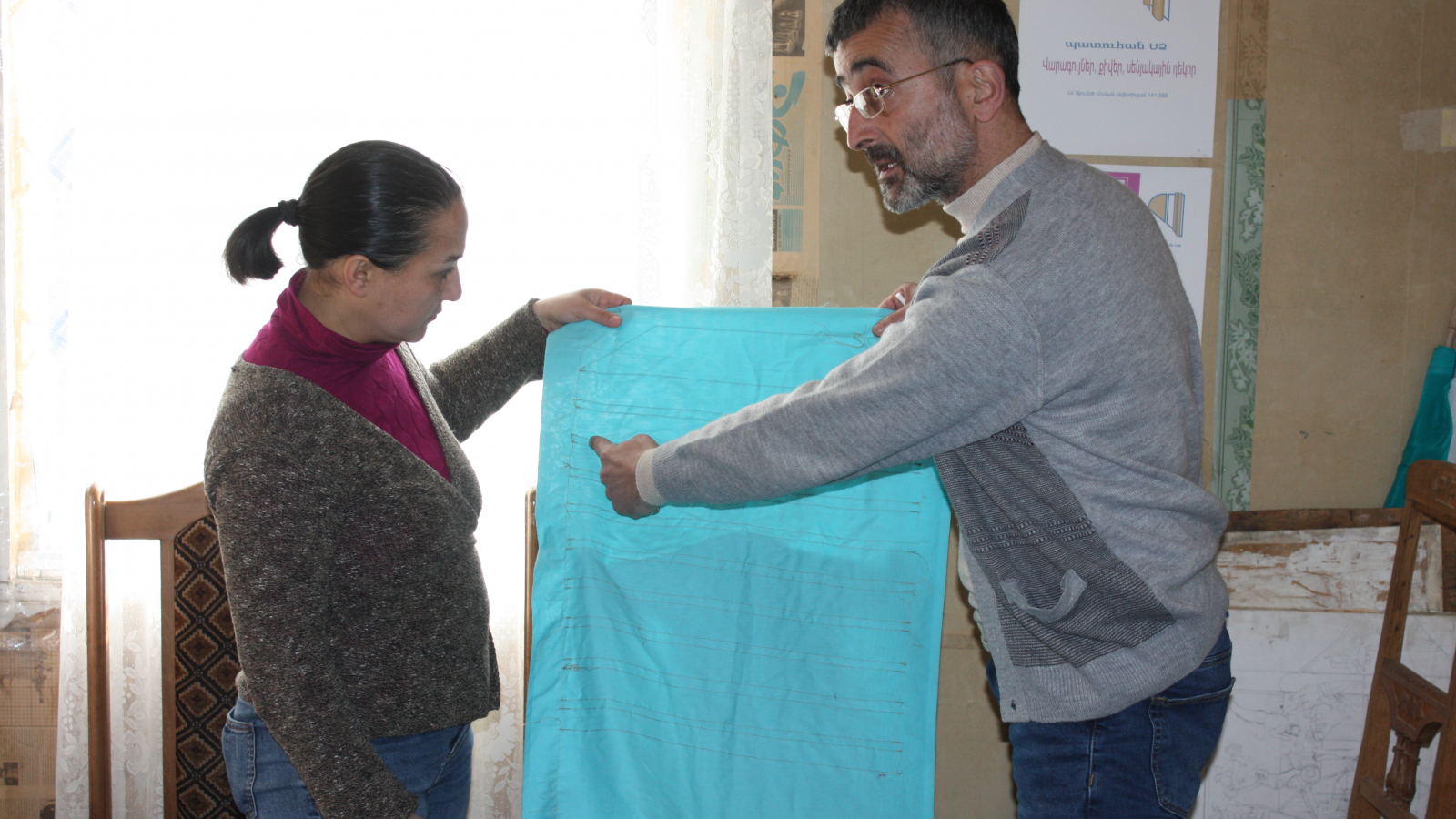 "Gohar Vardanyan (left), head of production and Artur Gevorgyan (right), head of ""Patuhan"" social enterprise"