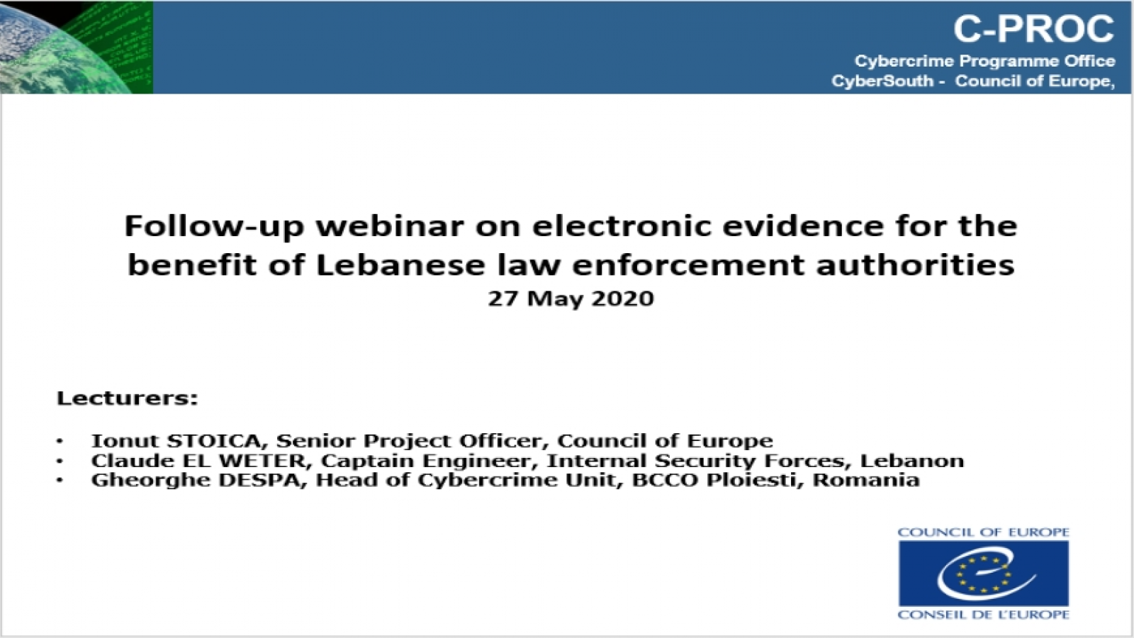 Lebanon: CyberSouth follow up webinar on electronic evidence